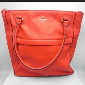 Red pebbled leather Kate Spade shoulder bag